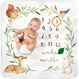 Baby Monthly Milestone Blanket Woodland - Baby Girl Gifts & Baby Boy Gifts - Watch Me Grow Woodland Nursery Décor - European