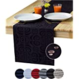 Black Table Runner 72 inch, Waterproof Dresser Scarf, Outdoor Coffee Table Runner, Damask Dining Table Runners for Nightstand