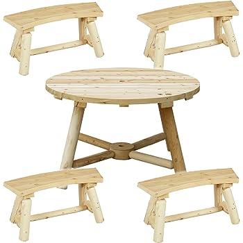 高耐候性 カナディアンログファニチャー ラウンドパラソルテーブル & ベンチ 5点セット ノーザンホワイトシダー 天然木製