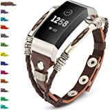 Compatible for Fitbit Charge 3 Bands for Women, Marval.P Handmade Leather Charge 3 SE Band, Replacement Unique Bracelet Strap