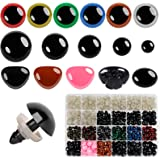 600pcs Plastic Safety Eyes and Noses for Amigurumi Crochet Crafts Dolls Stuffed Animals and Teddy Bear, Multiple Colors and S