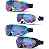 TURNMEON Ski Snowboard Goggles OTG, 4 Pack UV Protection Anti Fog Snow Goggle Winter Skiing Sport Goggles for Men Women Youth