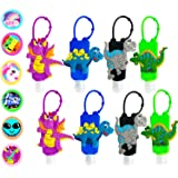 KINIA 8 Pack Kids Dinosaur Hand Sanitizer Travel Sized Keychain Carriers - 8-1 fl oz Flip Cap Reusable Portable Bottles (8-Va