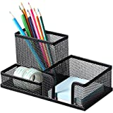Deli Mesh Desk Organizer Office Supplies Caddy with Pencil Holder and Storage Baskets for Desk Accessories, 3 Compartments, B