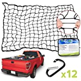 "Angooni 4' x 6' Heavy Duty Cargo Nets for Pickup Trucks - Stretches to 8'x12', 4""x4"" Mesh Holes Bungee Truck Bed Net with Pre"