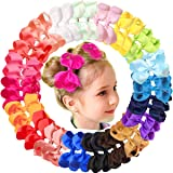 "JOYOYO 40Pcs 4.5"" Hair Bows Alligator Clips Grosgrain Ribbon Big Bows Clips For Girls Toddlers Kids Teens Children 20 Colors"