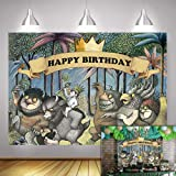 Fanghui 5x3FT Where The Wild Things are Theme Party Backdrop King of The Wild Things Boys Happy Birthday Party Banner Supplie