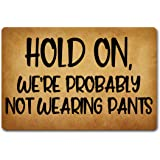 GXFC ZHAO Funny Welcome Door Mat Hold On We're Probably Not Wearing Pants Anti-Slip Mats Home Decor Welcome Mat Gift Door Mat