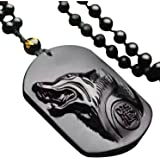 Pure Hand Carved Natural Obsidian Howling Wolf Head Amulet Necklace Pendant Women Mens Jade Gemstone Jewelry Gift Wholesale