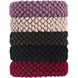 Ponyties 5 Pcs Hair Ties Thick No Crease No Damage Sports Ponytail Holders Scrunchies for Heavy and Curly Hair Multicolour