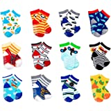 LGNTXDC 12 Pair Unisex Baby Anti-Slip Socks, 1 to 3 Years Old Toddler Infants Kids Sock Cute Design Curious, Security Fun Pat