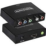 コンポーネント to HDMI コンバーター 変換器 1080P対応 5RCA RGB YPbPr to HDMI コンバータ HDCPオーディオ ビデオ 変換アダプタ HDTV V1.3 V1.4 HDCP 変換アダプタ HDTV、DVD、PSP、