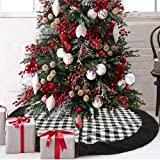 Onene Black and White Buffalo Plaid Check Christmas Tree Skirt 48 inches, Country Xmas Tree Decorations Tree Skirts Double La