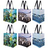 Reusable Grocery Bags Shopping Totes with Colorful National Geographic Prints Heavy Duty Water Resistant Laminated Material (