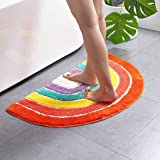 Multicolour Half Round Bathroom Mat Rainbow Microfiber Non-Slip Absorbent Bath Shower Rugs for Living Room Bedroom Kitchen Ho