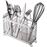 Utensil Holder Utensil Drying Rack with Hooks, 3 Divided Compartments, Sturdy 304 Stainless Steel, Rust Proof