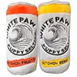 White Paw Two Pack Plush Squeaky Dog Toys Funny Drink Parody
