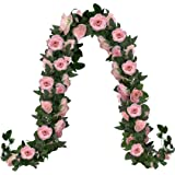 2Pack 15.2 FT Pink Flowers Garland Fake Rose Vines, 32 Heads Spring Artificial Floral Vine, Faux Hanging Flower Ivy Plants fo