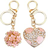 SKINEAT Flowers Ball Keychain and Sweet Love Heart Rose Flower Crystal Keyring, 2 Pieces, Multicolor, Medium