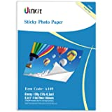 Self Adhesive Photo Paper Glossy -100 Sheets Uinkit Sticky Inkjet Paper 8.5x11 6.5Mil 130Gsm For Inkjet Printing Only