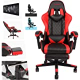 AUSELECT Gaming Chair Ergonomic Office Chair Heavy Duty Racing Style Chair with Footrest, Headrest and Reclining Back Support