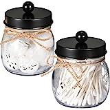 SheeChung Apothecary Jars SetMason Jar Decor Bathroom Vanity Storage Organizer CanisterPremium Quality Glass Qtip Holder Disp