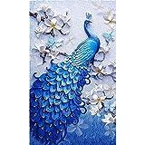 SanerDirect 5D DIY Diamond Painting Kit, Blue Peacock Crystal Rhinestone Diamond Art, Full Round Drill Diamond Craft for Home