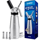 ZOEMO Profesional Whipped Cream Dispenser - Ugraded Full Metal Cream Whipper Canister, w/Durable Metal Body & Head with 3 Sta