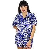Funky Hawaiian Blouse, VHO-Puzzle, Blue, 6XL