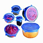 Silicone Stretch Lids, Reusable Durable and Expandable BPA Free Containers Covers for Bowl, Dishes, Dishwasher, Jars...
