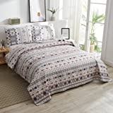 Lightweight Christmas Bedspread Coverlet Set Twin Size,3Pcs Christmas Tree Snowflake Quilts Stripe Bedding Pillow Shams New Y