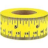 ChromaLabel Ruler Tape, Repeating 12 Inch Imperial & Metric Measurements Imprint, Yellow