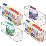 mDesign Baby Food Kitchen Refrigerator Cabinet or Pantry Storage Organizer Bin with Handles for Pouches Jars Bottles Formula