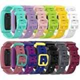RuenTech Compatible with Fitbit Ace 2 Kid's Band Silicone Water Resistant Fitness Watch Strap for Ace 2 Bands for Kids (12-Pa