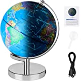 "Wizdar 8"" LED Illuminated Globe for Kids, 3 in 1 Interactive Educational World Globes with Stand, Blue Ocean Earth Globe with"
