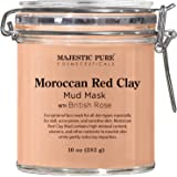 MAJESTIC PURE Moroccan Red Clay Facial Mud Mask with British Rose - Natural Skin Care Mask for Pore Cleansing and Dull & Sens