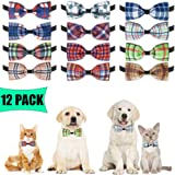 BINGPET Plaid Dog Bow Ties Collar - 12 Pack Adjustable Cat Bow Ties - Pet Bowties Collar for Small Medium Dogs, Puppies and C
