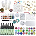UV Epoxy Resin Kit 180ml with Silicone Molds & Bezels & Pigment & Decorations & Lamp & Tweezers, Transparent Crystal...