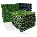 "XLX TURF Artificial Grass Tiles Interlocking Turf Deck Set 9 Pack - 12""x12"" Synthetic Fake Grass Self-draining Mat Flooring D"