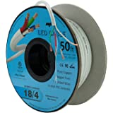 (15m Spool) - 18AWG Low Voltage LED Cable 4 Conductor In-Wall Jacketed Pure Copper Speaker Wire UL/cUL Class 2 (15m Spool)