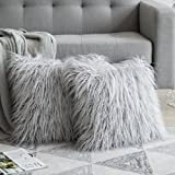 MIULEE Pack of 2 Decorative New Luxury Series Style Faux Fur Throw Pillow Case Cushion Cover for Sofa Bedroom Car 16 x 16 Inc