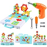ARELUX 316 Pieces Electric Drill Puzzle Toy Set,Creative Drilling Toy with Screwdriver Tool Playset STEM Toys,3D Educational