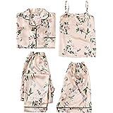 LYANER Women's Pajamas Set 4 pcs Satin Silk Cami Top Button Down Loungewear Pjs Set