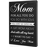 Light Autumn Gifts for Mom - Hangable Canvas from Daughter or Son - Meaningful Mom Gifts (Blackwhite) Cottage