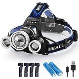 KENSUN ヘッドライト usb充電式 12000ルーメン センサー 電気出力 電量ディスプレイ可能 4モード 固定 ヘルメット ライト クリップ 4個入り