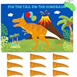 Pin The Tail On The Dinosaur Game, Large Poster Reusable Sticker Blindfold Photo Props Decoration, T-Rex Kids Birthday Roar P
