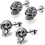 Aroncent Stainless Steel Stud Skull Earrings, Mens Silver Black Rock Gothic Ear Piercing Earrings