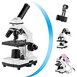 顕微鏡 200~2000倍の強力な生物学用教育 顕微鏡 電話アダプタ、ワイヤーシャッター、ハンドバッグ、アクセサリー、顕微鏡スライド付き 子供 小学生 中学生 初心者の学習用