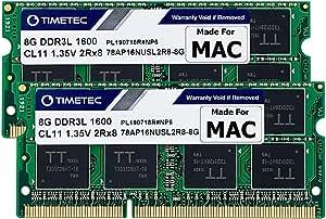 Timetec Hynix IC 16 GB (8GBx 2枚) Mac用 DDR3L 1600 MHz PC3L 12800 SODIMM Apple専用増設メモリ 永久保証 (16 GB (8GBx 2枚))
