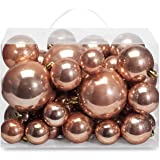 AMS Christmas Ball Plating Ornaments Tree Collection for Holiday Parties Decoration (40ct Pearl, Rose Gold)